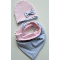 Czapka i chusta - szaro-różowe