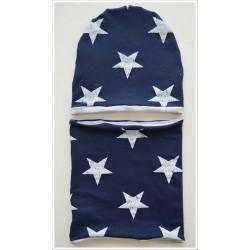 Zestaw czapka i komin granatowe w gwiazdy